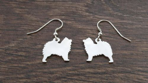 Samoyed earrings Handmade by saw piercing solid sterling silver